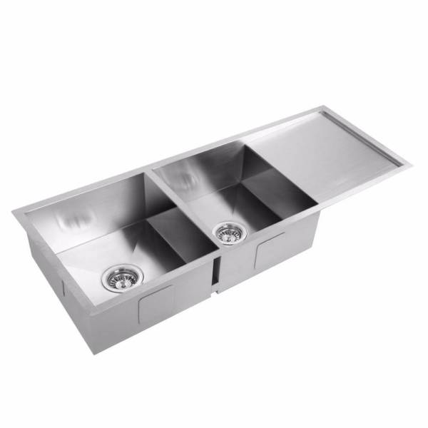 Double Bowl Stainless Steel Sink Drain Board Modern Stylish