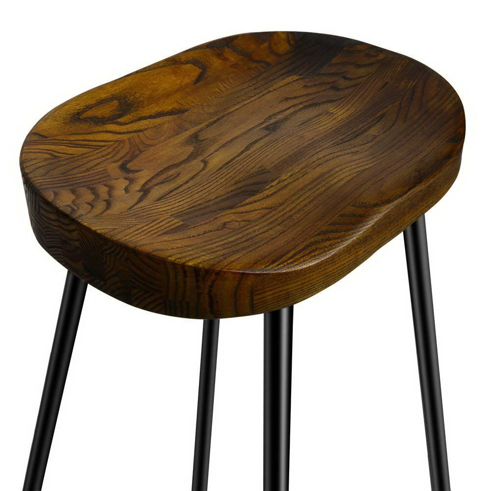 Stools x 2 Retro Inspired Industrial Design Steel/Curved Wood Seat ...