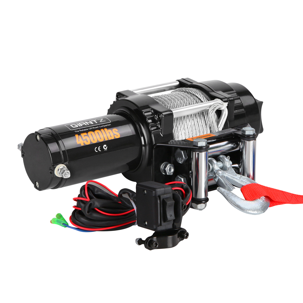 Electric 12v Winch 4500lbs Steel Cable Water Mud Proof