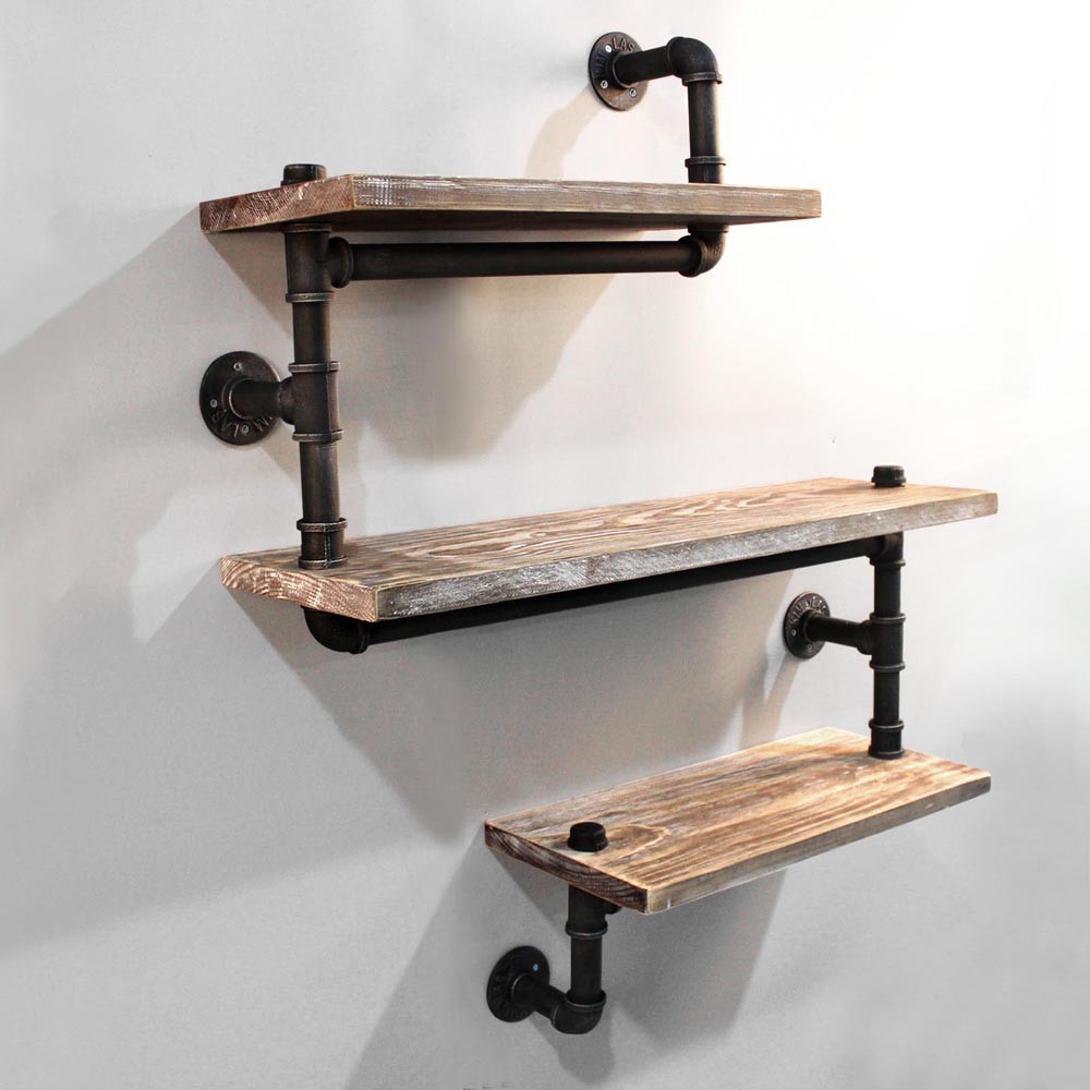 Shelving Three Level Snake Design Industrial Pipe Rustic