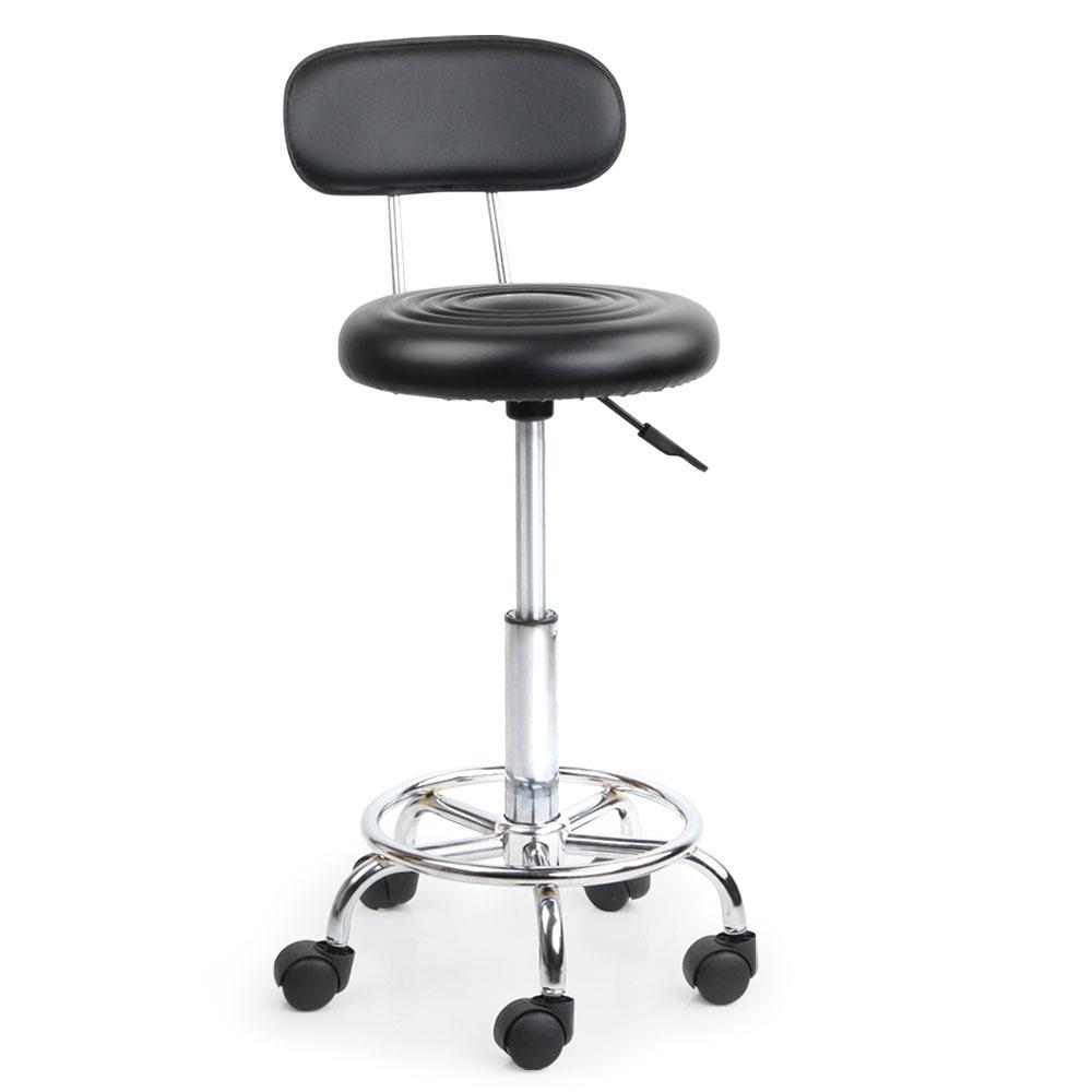 Salon Stool With Back Rest On Castors Height Adjustable