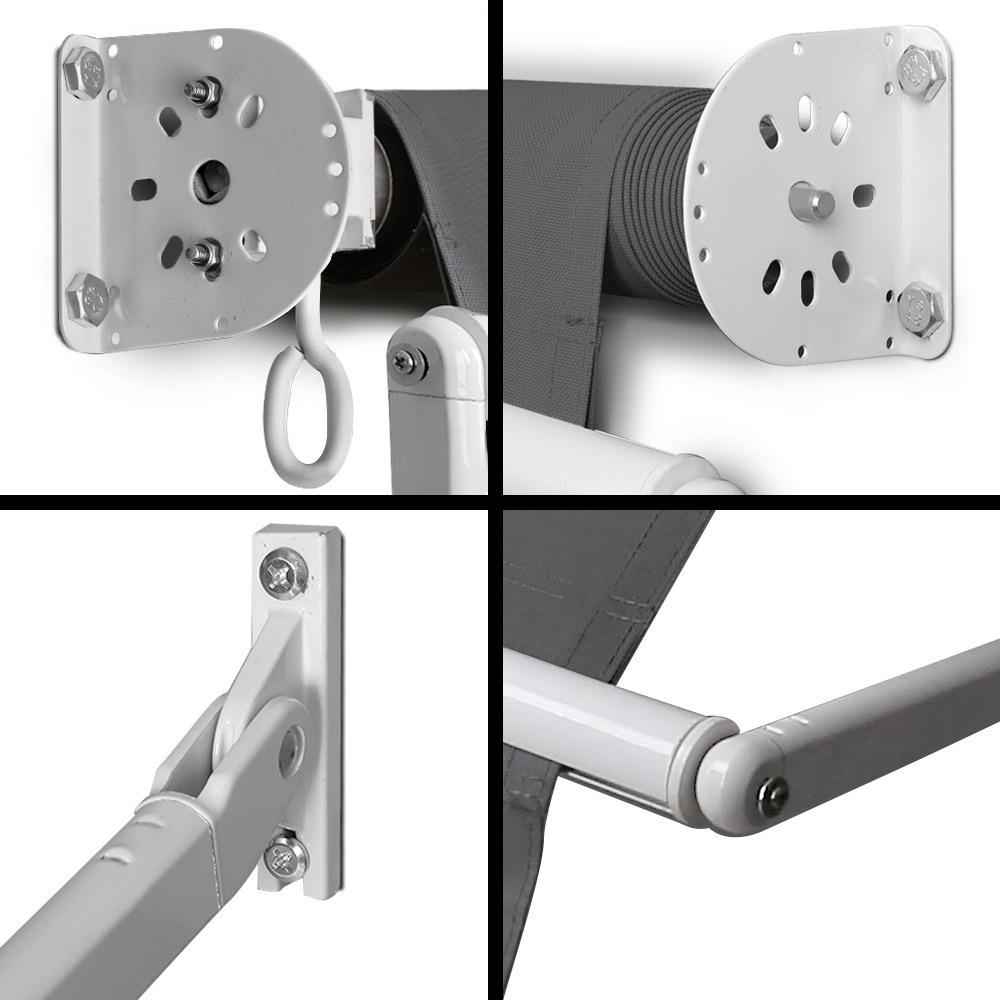 Awning Retractable Fixed Pivot Arm 2.4m x 2.1m Grey UV ...